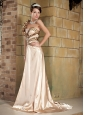 Champagne Empire One Shoulder Brush Train Elastic Woven Satin and leopad chiffon Beading Prom Dress