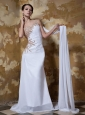 Exquisite Column / Sheath One Shoulder Watteau Train Chiffon Appliques and Elastic Woven Satin Prom Dress