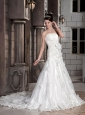 Gorgeous A-line / Princess Strapless Court Train Tulle and Satin Appliques Wedding Dress