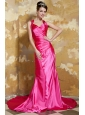 Hot Pink Column V-neck Brush Train Elastic Woven Satin Ruch Prom / Evening Dress