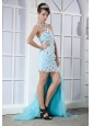 Light Blue Column One Shoulder Mini-length Elastic Woven Satin and Chiffon Appliques Prom Dress