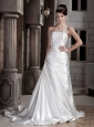 Modern A-line / Princess One Shoulder Court Train Elastic Woven Satin Beading and Appliques Wedding Dress