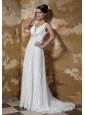 Perfect Empire V-neck Brush Chiffon Beading Wedding Dress