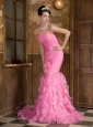 Rose Pink Mermaid Sweetheart Brush Train Satin and Organza Ruch Prom Dress