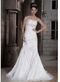 Popular Trumpet / Mermaid Strapless Court Train Taffeta Beading Wedding Dress