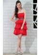 Red A-Line / Princess Strapless Mini-length Chiffon Rhinestones and Sequins Prom / Homecoming Dress