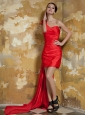 Red Column One Shoulder Mini-length and Watteau Train Taffeta Hand Made Flowers Prom Dress