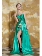 Turquoise Empire Sweetheart Brush Train Elastic Woven Satin and Leopard Beading Prom Dress
