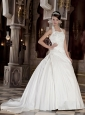 Perfect A-Line / Princess Halter Court Train Taffeta Beading and Appliques Wedding Dress