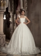 Modest A-line / Princess Square Court Train Satin and Tulle Embroidery Wedding Dress