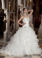 Discount A-Line / Princess Sweetheart Brush / Sweep Train Satin and Organza Beading Wedding Dress