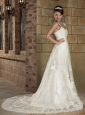 Romantic Mermaid V-neck Court Train Elastic Wove Satin and Lace Appliques Wedding Dress