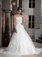 Beautiful A-Line/Princess Sweetheart Chapel Satin and Lace Appliques Wedding Dress