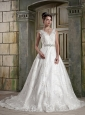 Lovely A-Line / Princess V-Neck Court Train Satin Lace Wedding Dress