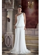 Simple Column / Sheath One Shoulder Court Train Chiffon Beading Wedding Dress