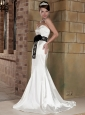 Sweet Column Sweetheart Brush Train Elastic Wove Satin Belt Wedding Dress