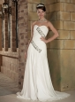 Perfect Empire Sweetheart Brush Train Elastic Wove Satin and Chiffon Beading Wedding Dress
