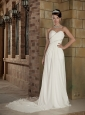 Lovely Empire Sweetheart Chapel Train Elastic Wove Satin and Chiffon Beading Wedding Dress