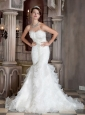 Elegant Mermaid Sweetheart Brush Train Organza and Elastic Wove Satin Appliques Wedding Dress