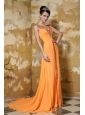 Orange Empire V-neck Brush Train Chiffon and Elastic Woven Satin Beading and Ruch Prom / Celebrity Dress