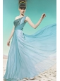 Baby Blue Empire One Shoulder Floor-length Chiffon Sequins Prom / Evening Dress