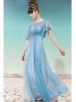 Baby Blue Empire Scoop Floor-length Chiffon Sequins Prom / Party Dress