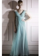 Baby Blue Empire V-neck Floor-length Chiffon Beading and Ruch Prom Dress