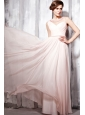 Baby Pink Empire Bateau Floor-length Chiffon Beading Prom Dress