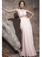 Baby Pink Empire Halter Floor-length Chiffon Beading and Ruch Prom / Celebrity Dress