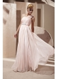 Baby Pink Empire One Shoulder Floor-length Chiffon Beading and Ruch Prom / Celebrity Dress