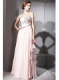 Baby Pink Empire Strapless Floor-length Chiffon Beading and Ruch Prom / Celebrity Dress