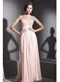 Baby Pink Empire V-neck Floor-length Chiffon Beading and Ruch Prom / Celebrity Dress