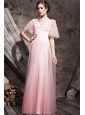 Baby Pink Empire V-neck Floor-length Tulle Appliques and Ruch Prom / Celebrity Dress