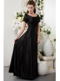 Black Column Scoop Floor-length Taffeta Mother Of The Bride Dress