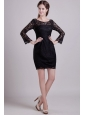 Black Column Scoop Mini-length Lace Mother of the Bride Dress