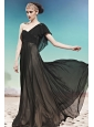 Black Empire One Shoulder Floor-length Chiffon Beading Prom Dress