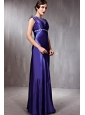 Blue Column / Sheath Bateau Floor-length   Taffeta Beading Prom Dress