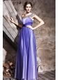 Blue Column / Sheath One Shoulder Floor-length Chiffon Beading and Ruch Prom / Evening Dress