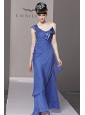 Blue Column / Sheath One Shoulder Floor-length Organza Beading and Bowknot Prom Dress / Evening