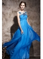 Blue Empire Bateau Floor-length Chiffon Beading Prom Dress