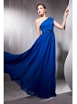 Peacock Blue Empire One Shoulder Floor-length Chiffon Beading Prom Dress