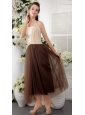 Brown Empire Halter Tea-length Tulle Lace Bridesmaid Dress
