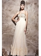 Champagne Column / Sheath Strapless Floor-length Chiffon Beading Prom / Evening Dress