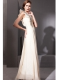 Champagne Column One Shoulder Floor-length Chiffon Rhinestones Prom Dress