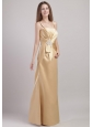 Champagne Column / Sheath Spaghetti Straps Floor-length Satin Appliques Bridesmaid Dress