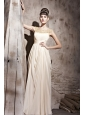 Champagne Empire Bateau Floor-length Chiffon Beading Prom / Evening Dress