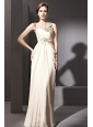 Champagne Empire One Shoulder Floor-length Chiffon Beading Prom / Evening Dress