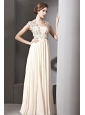 Champagne Empire Square Floor-length Chiffon Beading and Ruch Prom / Evening Dress