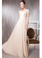 Champagne Empire Square Neck Floor-length Chiffon Appliques Prom Dress