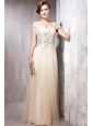 Champagne Empire Square Neck Floor-length Tulle   Appliques Prom Dress